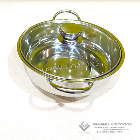 Lẩu inox 1 đáy nắp kính VIETCOOK