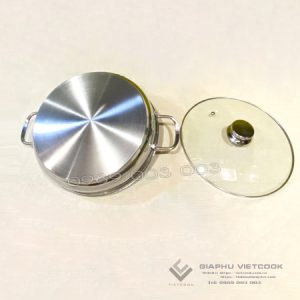 Lẩu inox 3 đáy nắp kính VIETCOOK