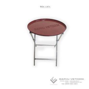 bàn cafe tròn, khung inox, gấp gọn VIETCOOK