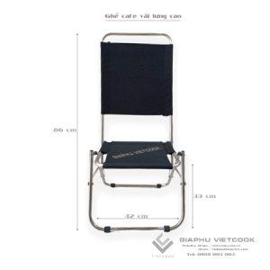 Ghế vải lưng cao, khung inox, gấp gọn