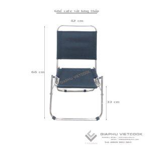 Ghế vải lưng thấp, khung inox, gấp gọn